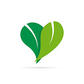Vector sign heart with leaves, love nature concept