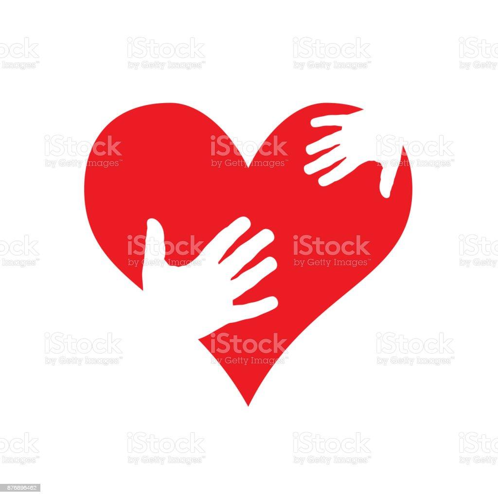 Vector sign help my heart vector art illustration