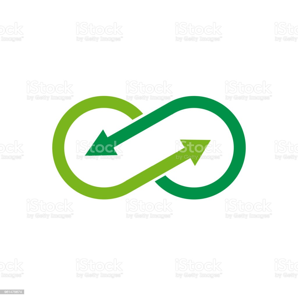 Vector sign infinite with arrows. Green recycling royalty-free vector sign infinite with arrows green recycling stock illustration - download image now