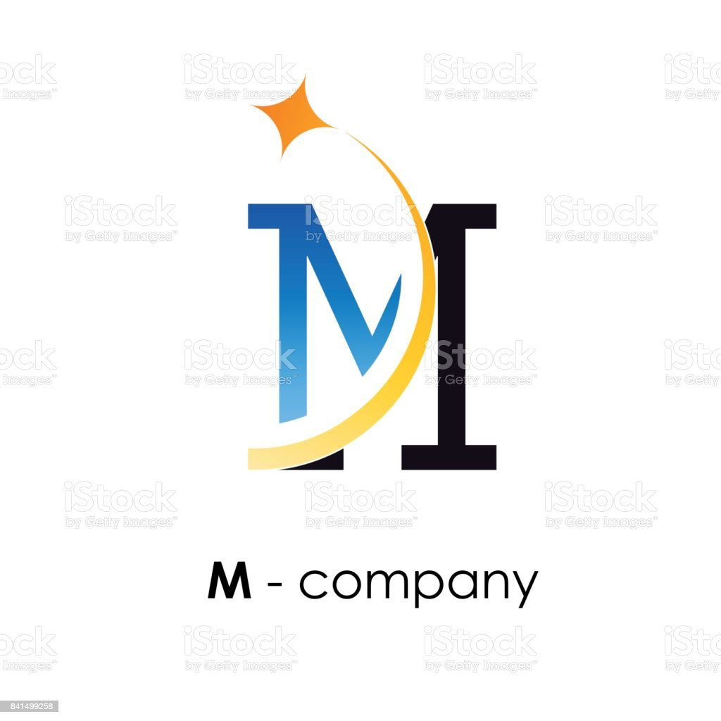 Vector sign letter M with star vector art illustration