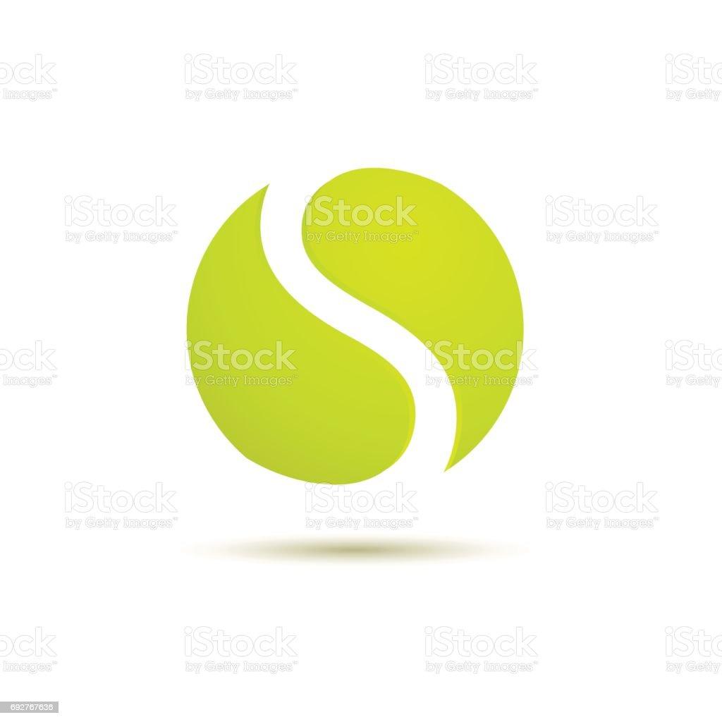 Lettre de signe vecteur S, balle de tennis - Illustration vectorielle