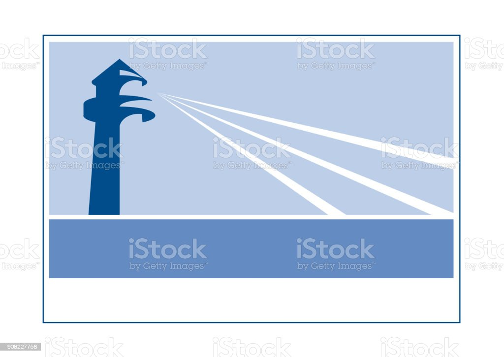 Vector sign lighthouse vector art illustration