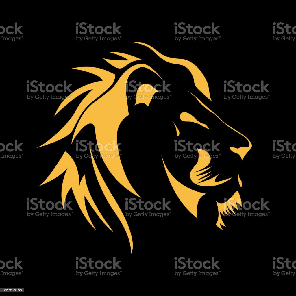 Vector sign  Lion, strength and courage concept vector art illustration