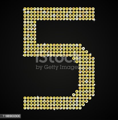 istock Vector sign made gold sequins or glitter number - 5. 1166900300