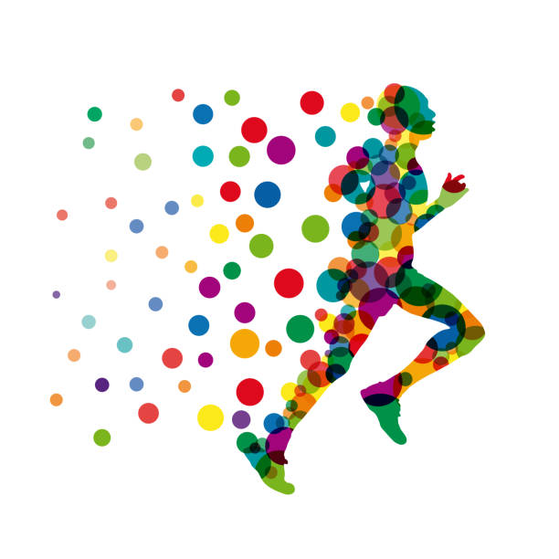 Vector sign man runs fast, runner with points and balloons vector art illustration