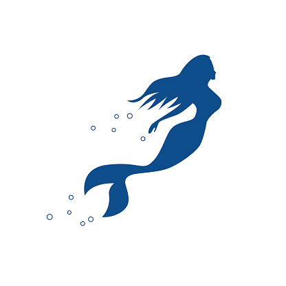 Vector sign mermaid swimming under the sea