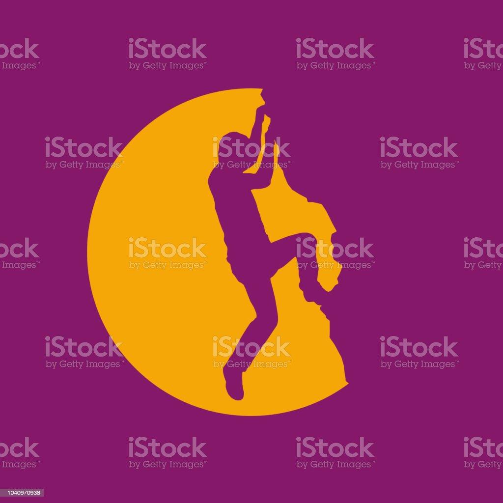 Vector sign rock climber, successful concept vector art illustration