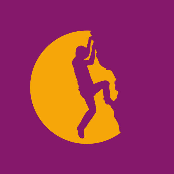 vector sign rock climber, successful concept - rock climbing stock illustrations, clip art, cartoons, & icons