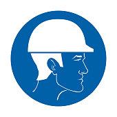 vector sign safety helmet