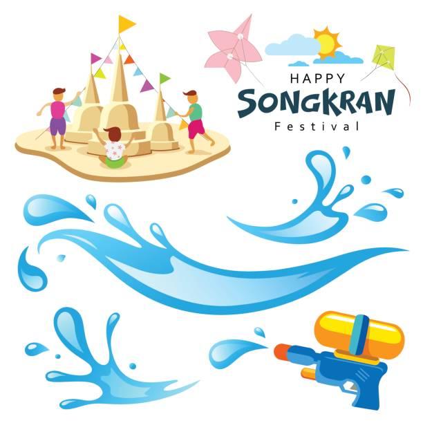 vector sign songkran festival of thailand - songkran festival stock illustrations, clip art, cartoons, & icons