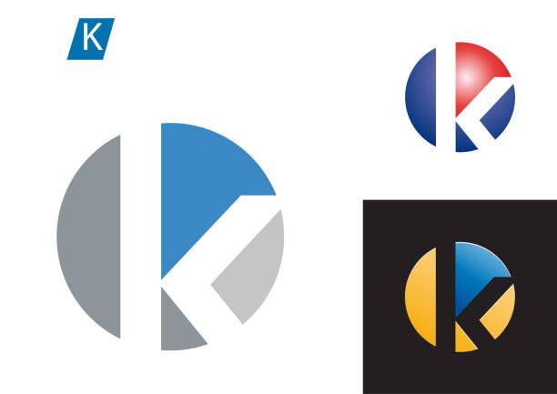 Vector sign spherical letter K Vector sign spherical letter K letter k stock illustrations