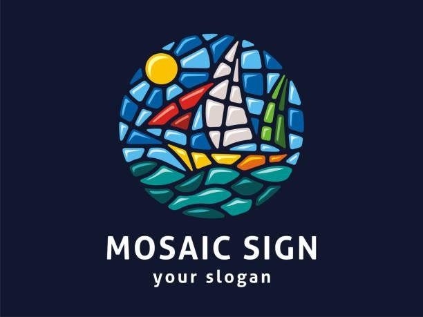 vector zeichenvorlage. zeichen landschaft im mosaik-stil. illustration eines seeboots - kieselmosaik stock-grafiken, -clipart, -cartoons und -symbole