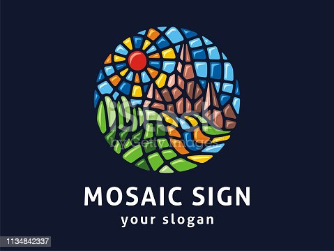 Sign landscape in mosaic style.
