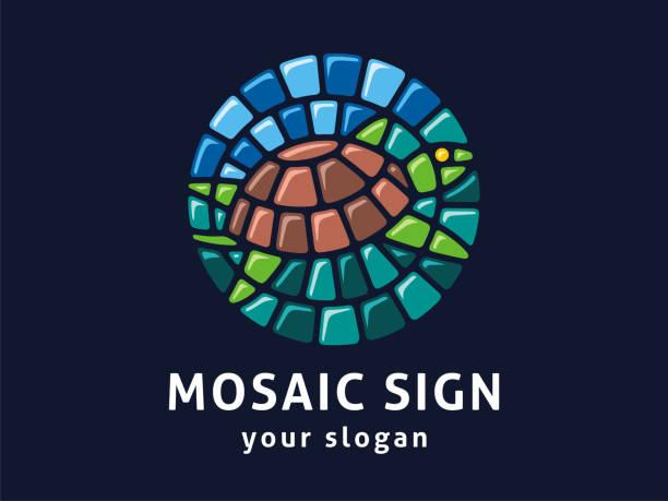 vector zeichenvorlage. schild der schildkröte im mosaik-stil. - mosaikglas stock-grafiken, -clipart, -cartoons und -symbole