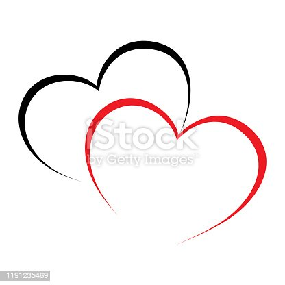 Vector sign two hearts. Two Red love heats symbol. Flat design.