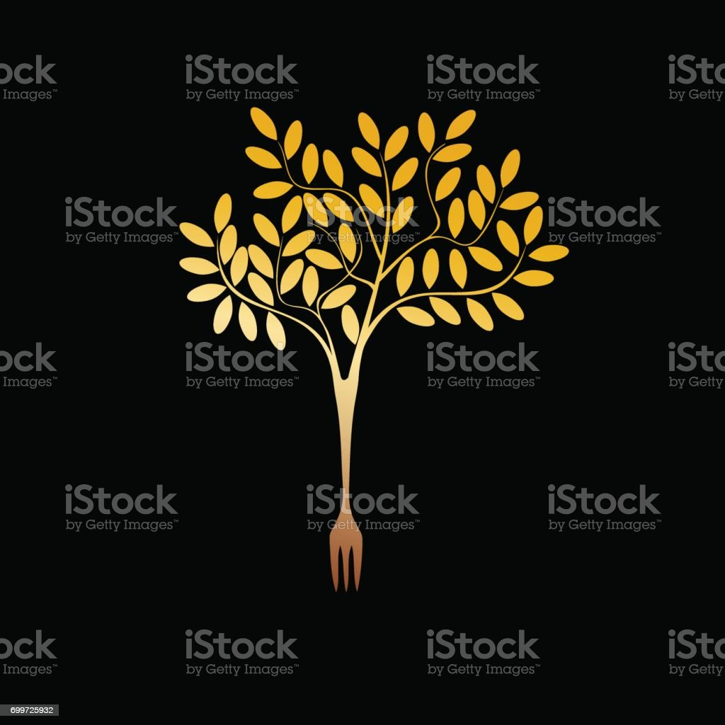 Arbre de végétalien or sign vector - Illustration vectorielle