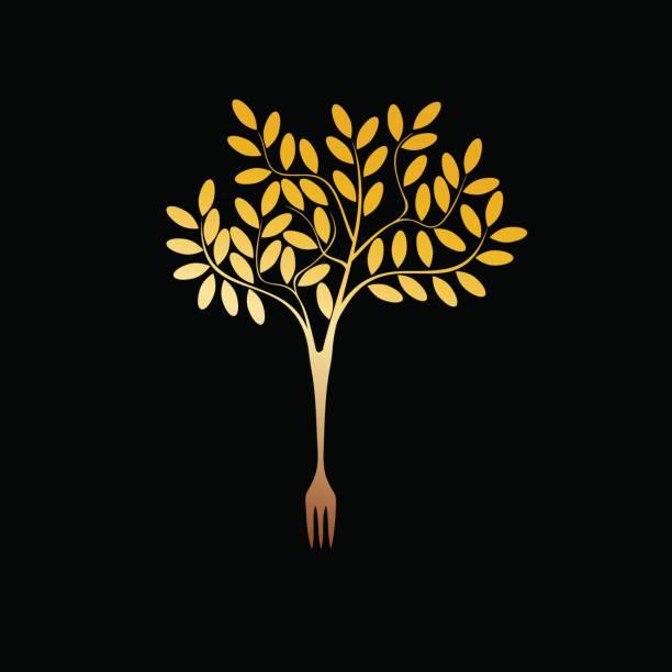 Arbre de végétalien or sign vector - Illustration vectorielle