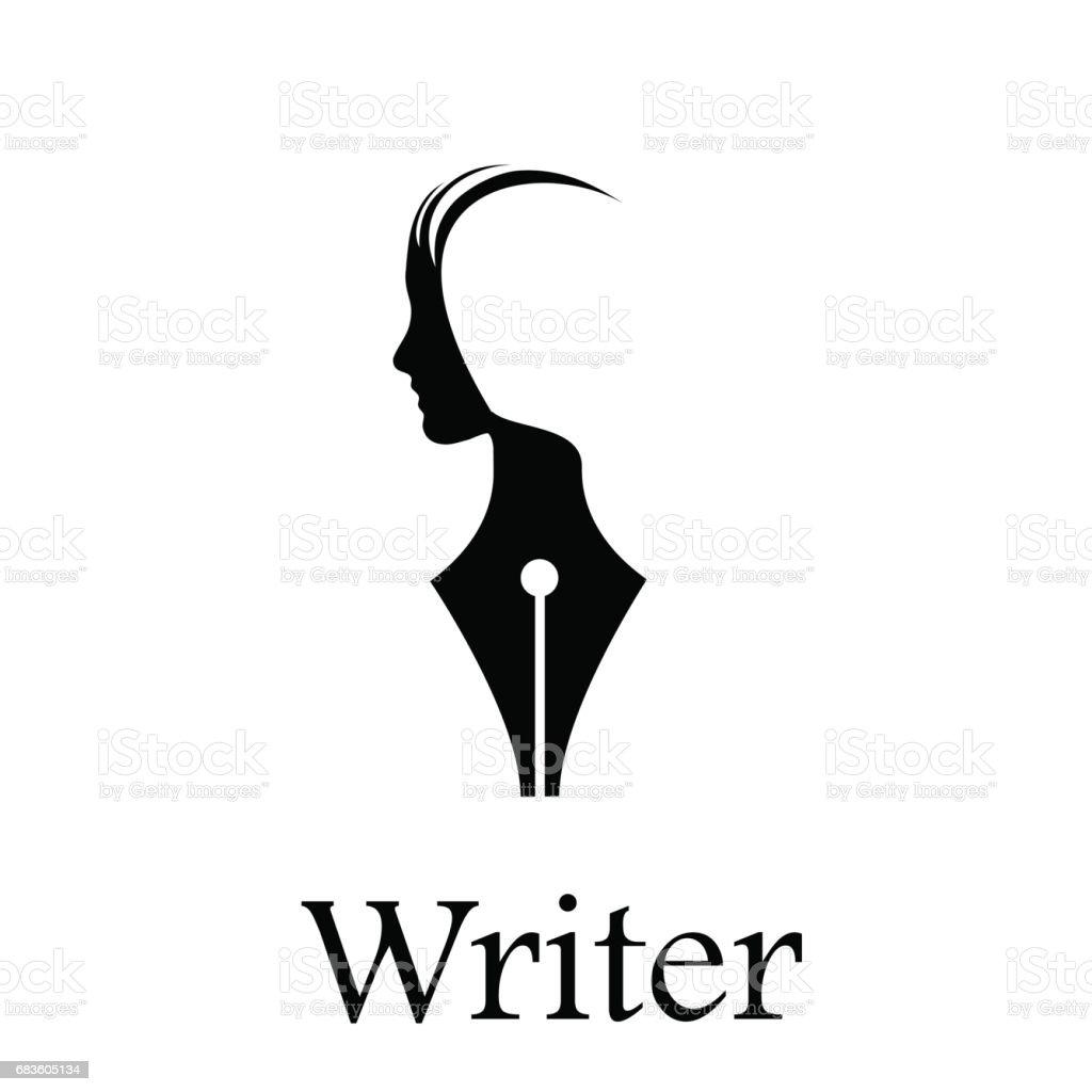 Vector sign writer. Fountain pen, head of a person vector art illustration