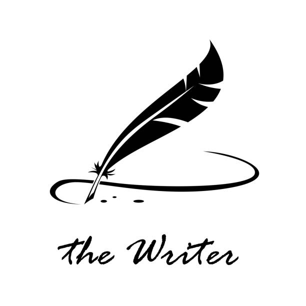 moduł zapisujący znak wektorowy. podpis z inkwell o ptasiego pióra - pióro przyrząd do pisania stock illustrations