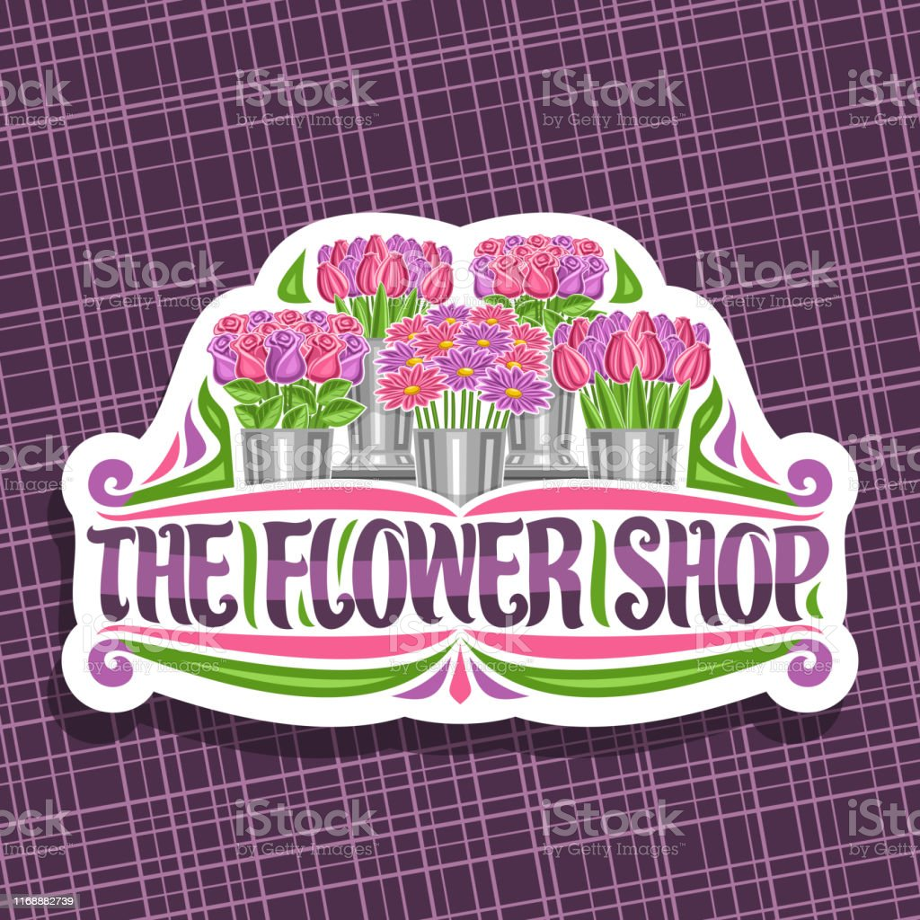 Vector signage for Flower Shop, decorative cut paper label with...
