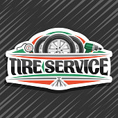 Vector signage for Tire Service, white signboard with 3 tires on alloy discs, illustration of professional pneumatic manometer and air impact wrench, sign with original lettering for words tire service.