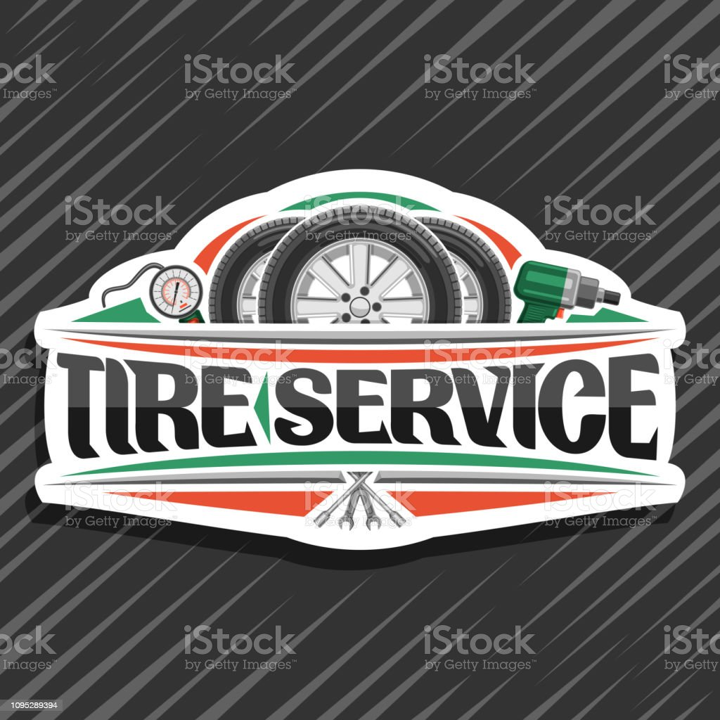 Vector signage for Tire Service vector art illustration