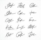 Vector Signature fictitious Autograph on white background