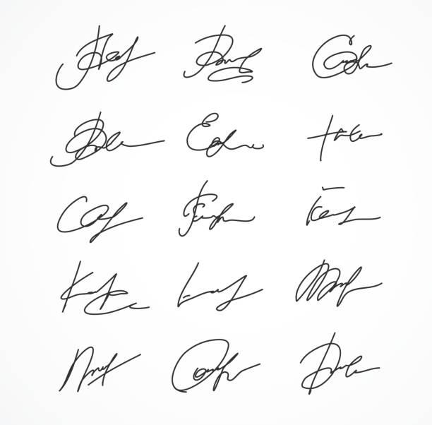 vektor charakteristischen fiktive autograph - unterschrift stock-grafiken, -clipart, -cartoons und -symbole