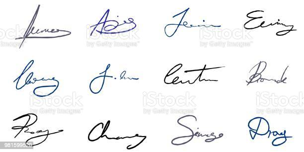 Vector Handtekening Instellen Stockvectorkunst en meer beelden van Bedrijfsleven