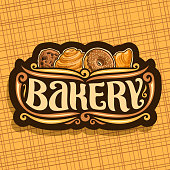 Vector signboard for Bakery, original brush typeface for word bakery, homemade cookie with chips, swedish cinnamon roll, donut with chocolate glaze and fresh french croissant on signboard of bakery shop.