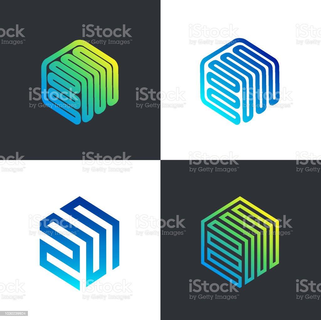 Vector signs template hexagon design. Design icons vector art illustration