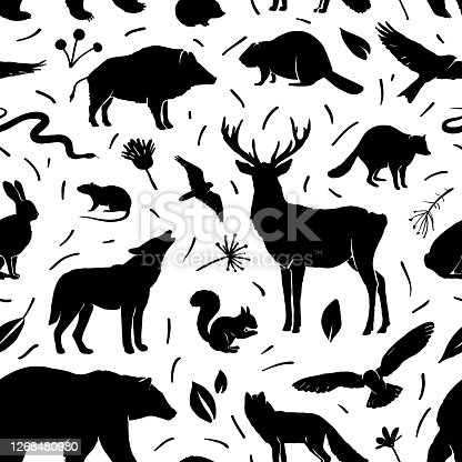 Vector silhouette animals seamless pattern. Deer, hare, fox, hedgehog, squirrel, wolf, bear, snake, beaver, raccoon, mouse, wild boar and birds. Black silhouettes animals isolated on white. Design for textile, wrapping paper, page fill, web design, wallpaper.