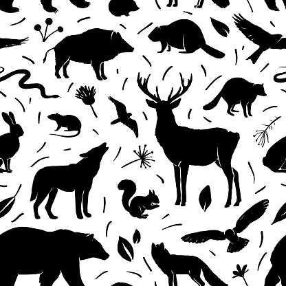 Vector silhouette animals seamless pattern. Deer, hare, fox, hedgehog, squirrel, wolf, bear, snake, beaver, raccoon, mouse, wild boar and birds. Black silhouettes animals isolated on white.