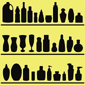 Vector Silhouette : Bottles, glasses, Containers