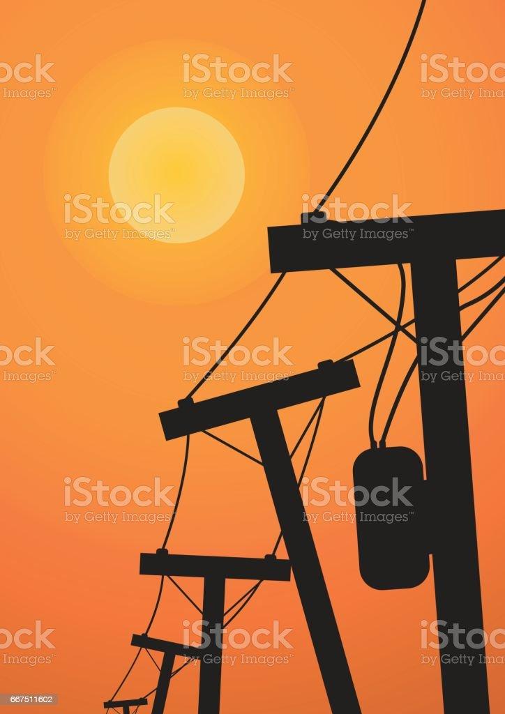 Vector : Silhouette electricity post before sunset vector silhouette electricity post before sunset - immagini vettoriali stock e altre immagini di affari finanza e industria royalty-free