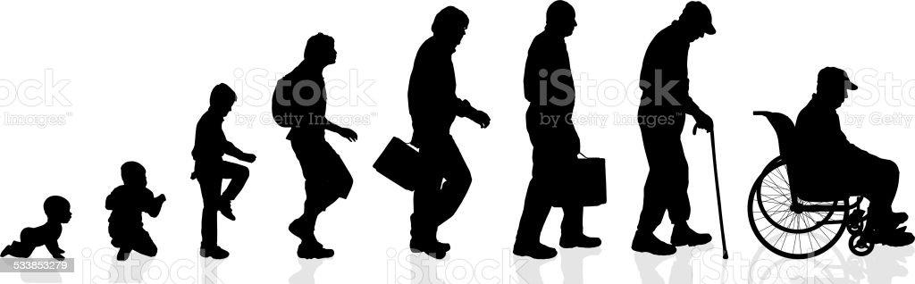 Vector silhouette generation men. vector art illustration