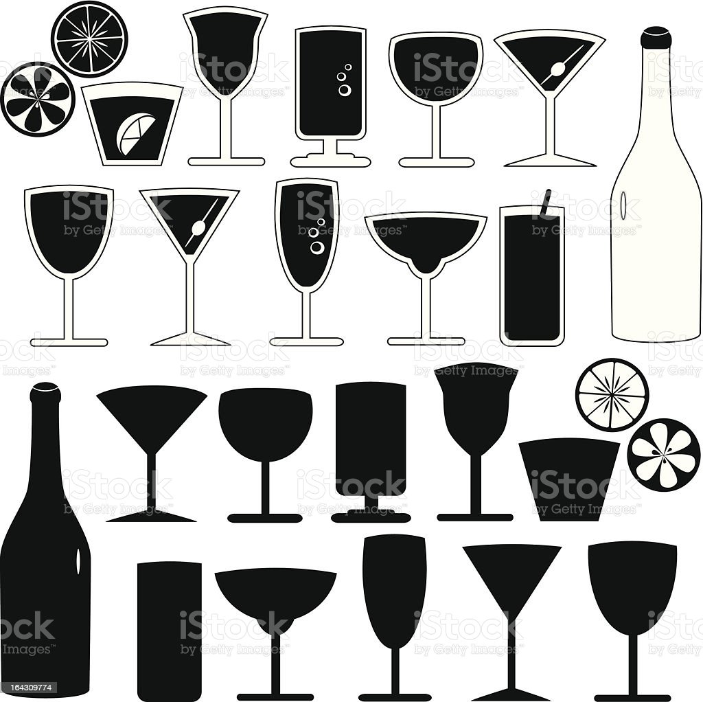 vector Silhouette - Glasses, bottles, cocktails isolated on white vector art illustration