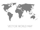 Simplified silhouette of world map, vector illustration