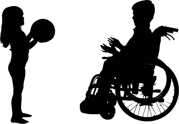 vector silhouette of a boy. - wheelchair sports stock illustrations, clip art, cartoons, & icons