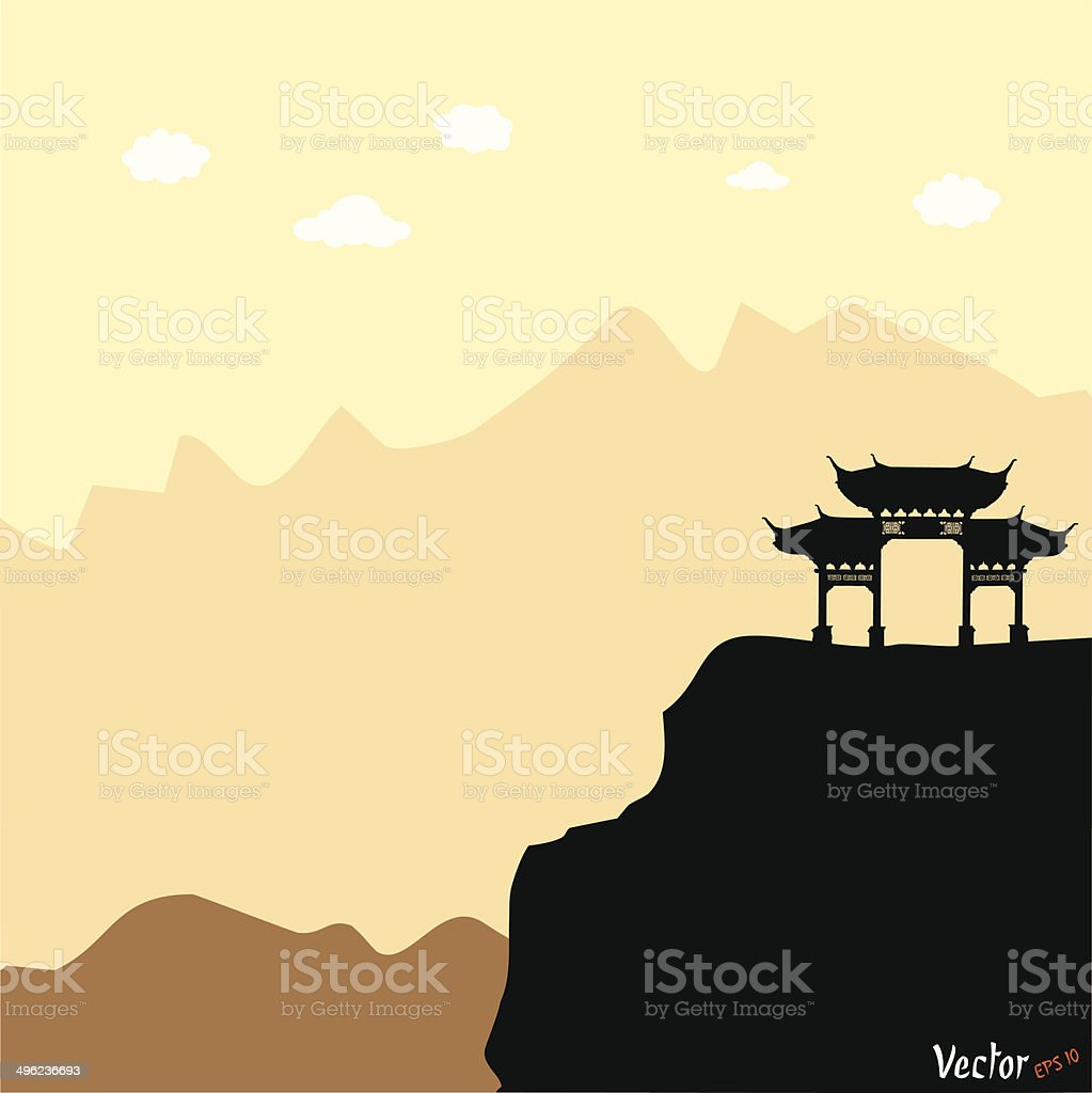 Vector silhouette of a chinese archway royalty-free stock vector art