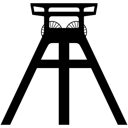 Vector silhouette of a coal mine headframe isolated on white background