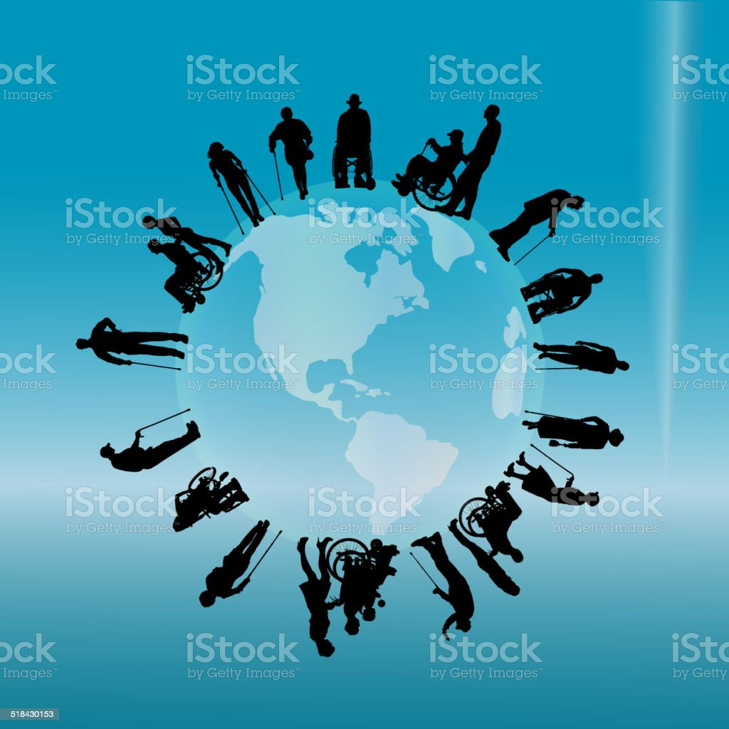 Vector silhouette of a disabled people. vector art illustration