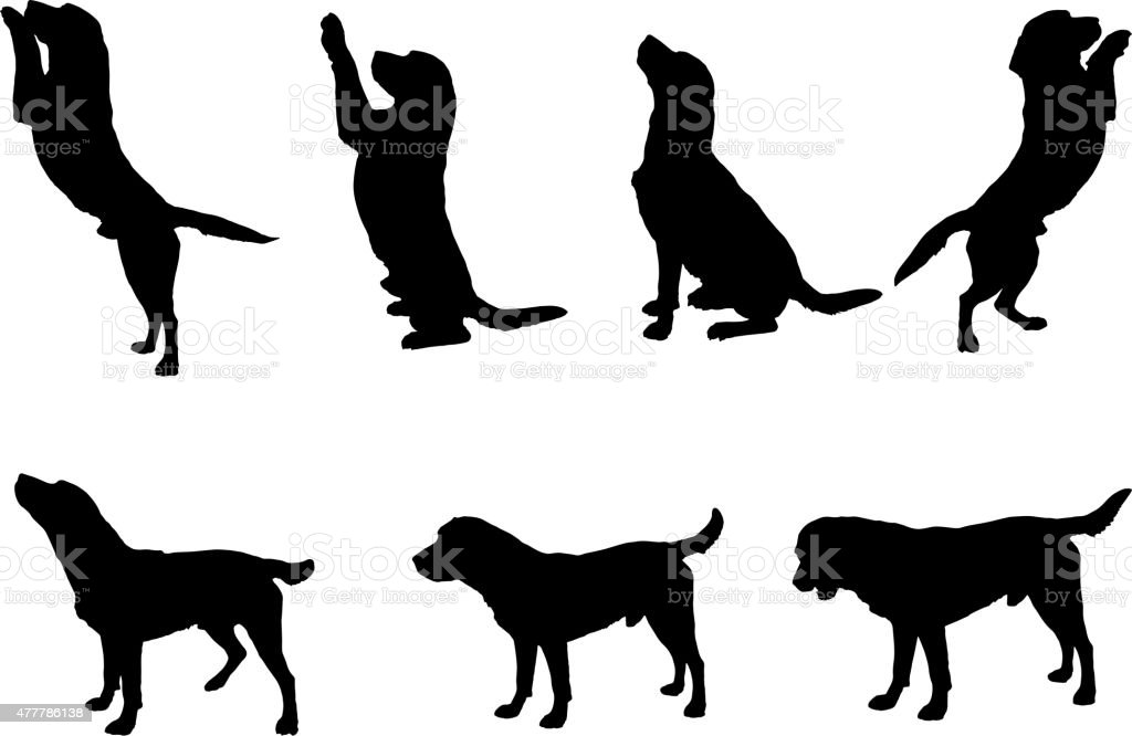 Vector Silhouette Of A Dog Stock Vector Art & More Images ...