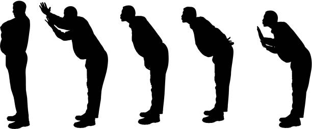 vector silhouette of a fat man. - old man kissing stock illustrations, clip art, cartoons, & icons