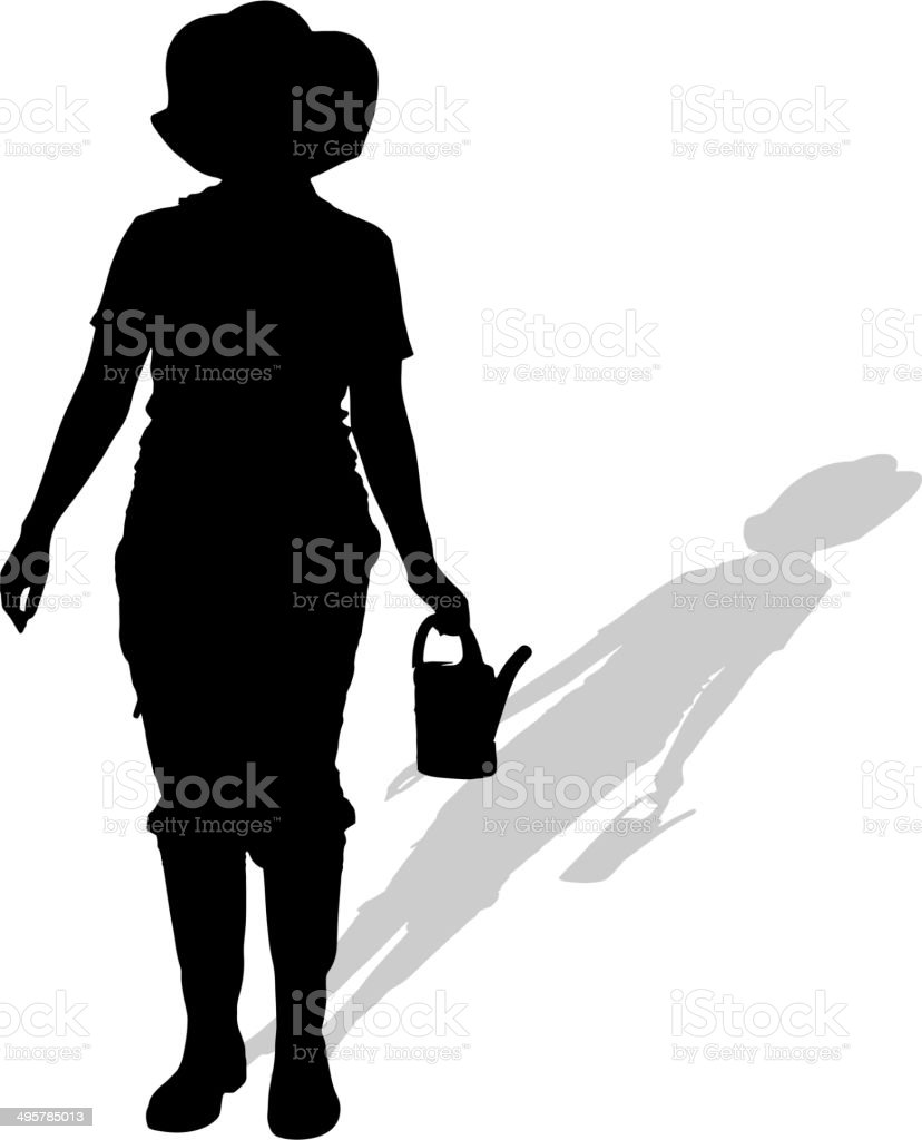 Vector silhouette of a gardener. royalty-free vector silhouette of a gardener stock vector art & more images of adult