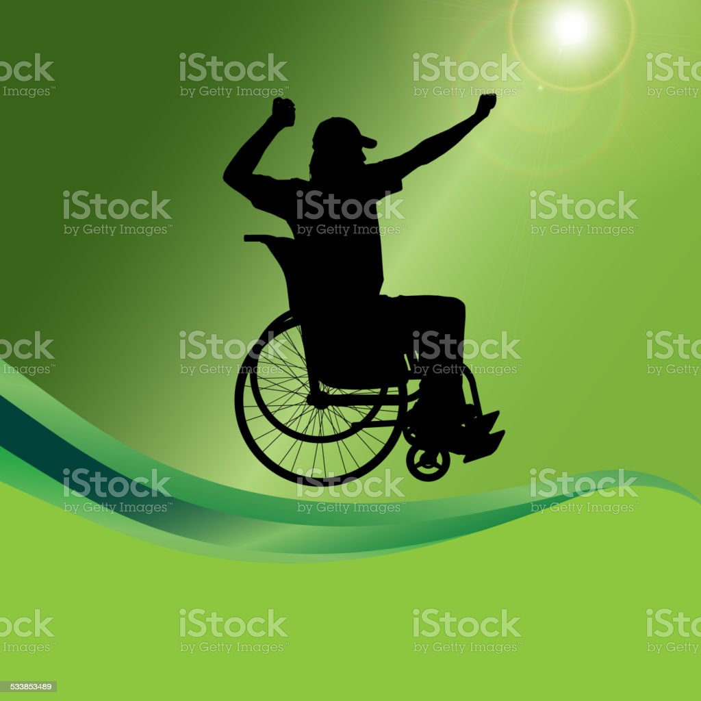 Vector silhouette of a man in a wheelchair. vector art illustration