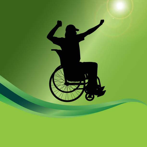 vector silhouette of a man in a wheelchair. - wheelchair sports stock illustrations, clip art, cartoons, & icons