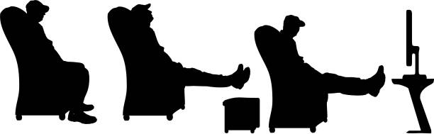 vector silhouette of a man - old man sitting chair silhouettes stock illustrations, clip art, cartoons, & icons