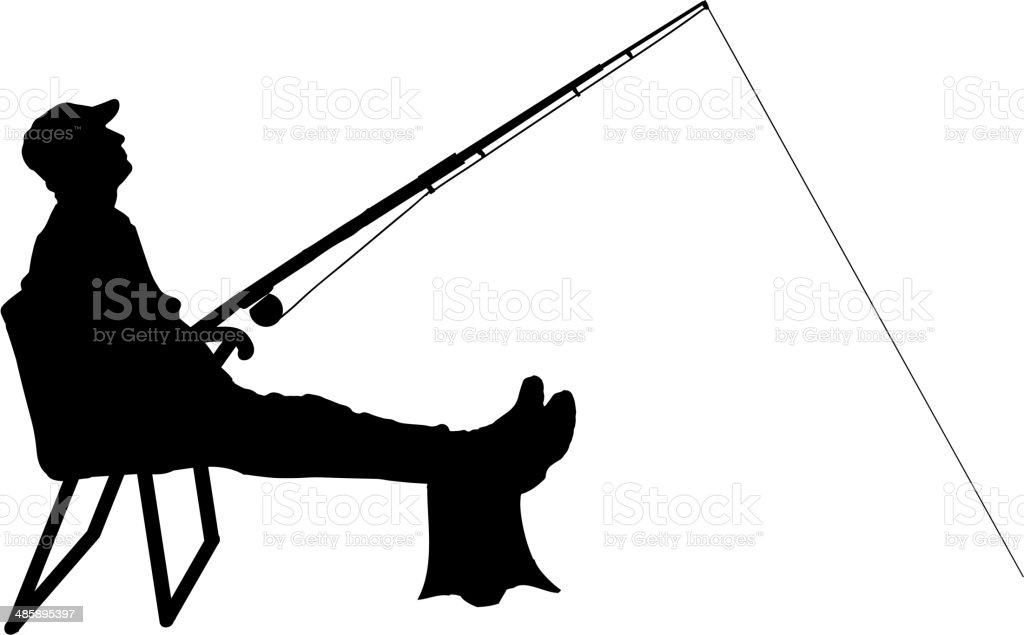 Vector silhouette of a man who fishes. vector art illustration