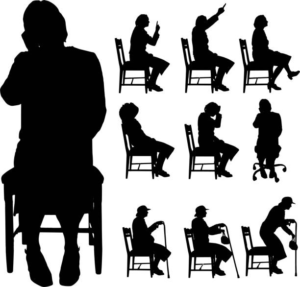 vector silhouette of a people. - old man sitting backgrounds stock illustrations, clip art, cartoons, & icons